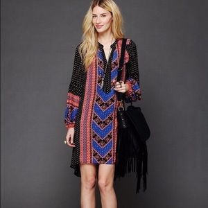 Free People boho high low dress long sleeve large
